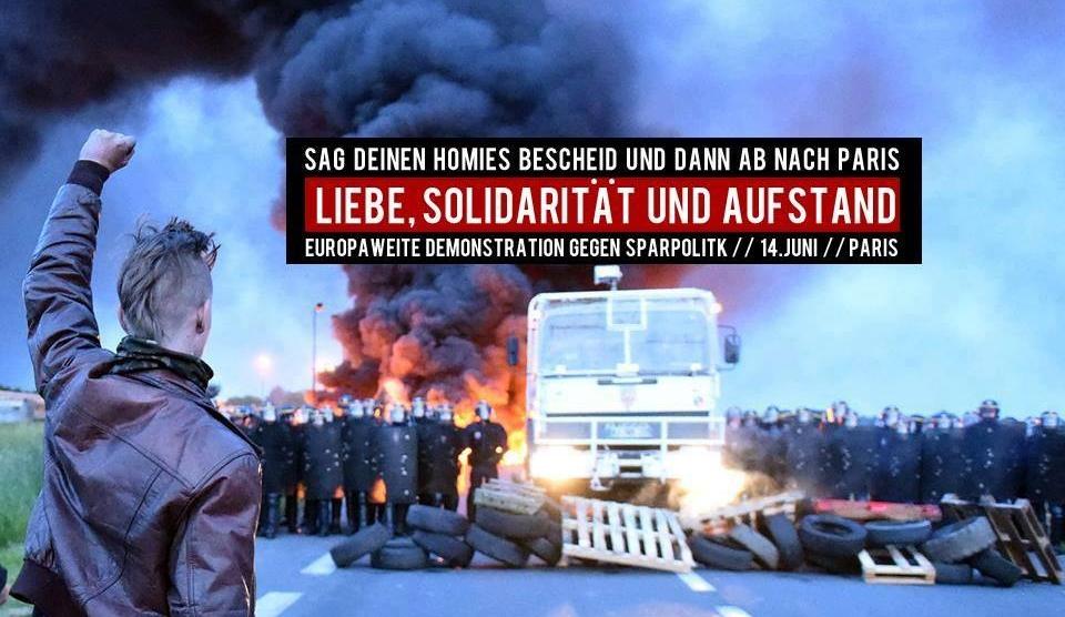 Europaweite Demonstration gegen die Arbeitsmarktreform am 14. Juni in Paris