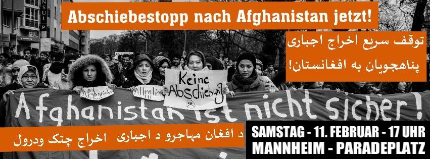 Bundesweiter Aktionstag gegen Abschiebungen nach Afghanistan am 11.02. in Mannheim