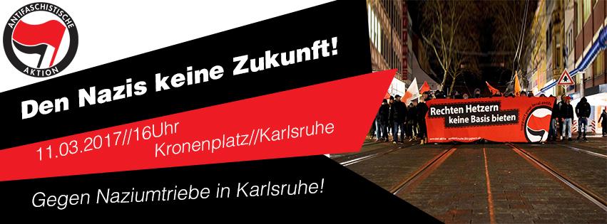 """Antifa-Demo durch Karlsruhe und Aktionen gegen die Nazitruppe """"KWS"""" am 11.03."""