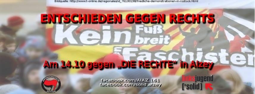 Aktionen gegen den Naziaufmarsch am 14.10. in Alzey