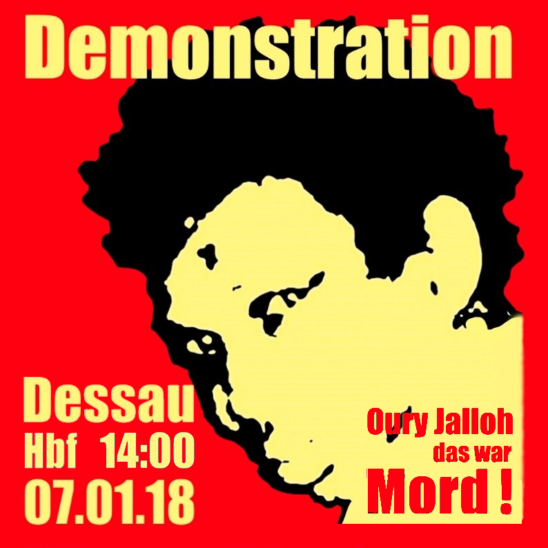 Demo in Gedenken an Oury Jalloh am 7. Januar 2018 in Dessau