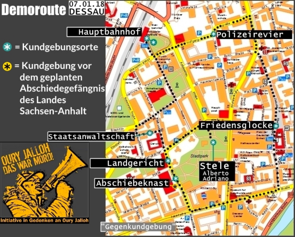 Route der Demo in Gedenken an Oury Jalloh am 07.01. in Dessau