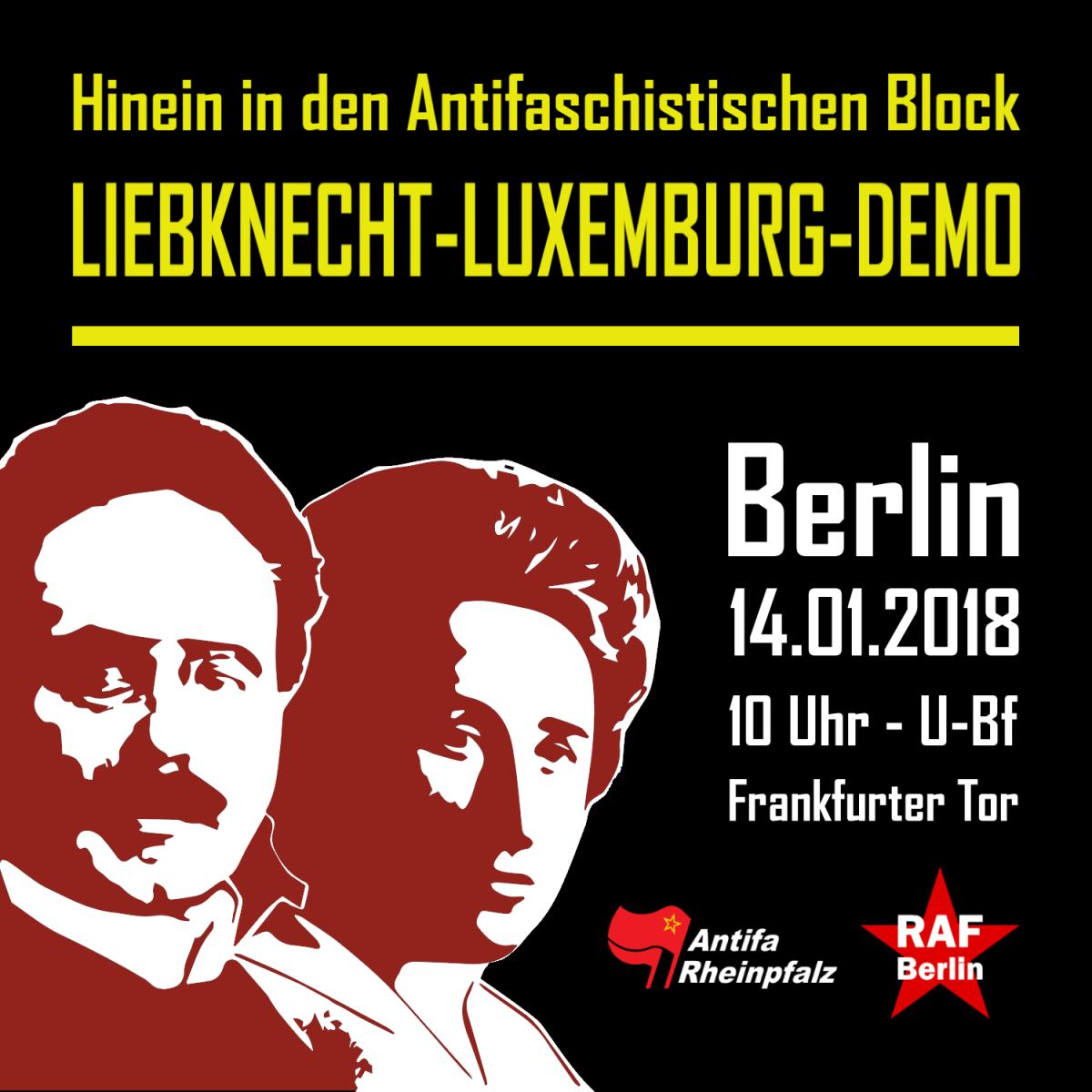 Hinein in den antifaschistischen Block auf der Liebknecht-Luxemburg-Demo 2018 in Berlin