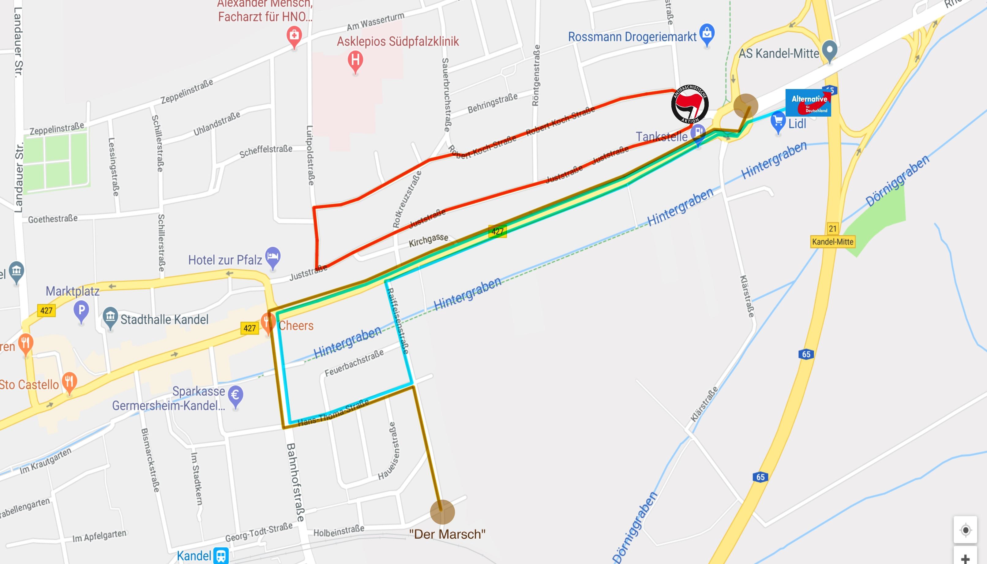Aktionskarte zum Naziaufmarsch in Kandel am 3. März
