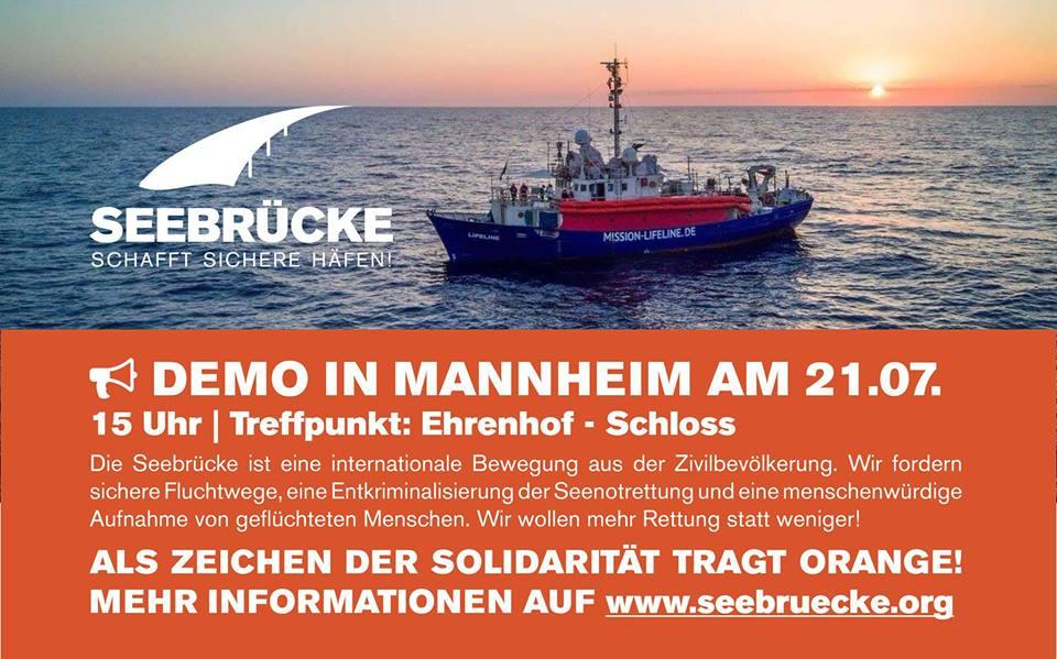 Demo für sichere Häfen am 21. Juli in Mannheim